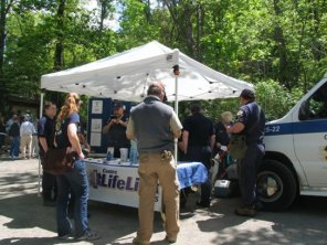 CREST Information Booth and Vehicle. CREST Members meet and greet the public and show one of their rescue vehicles and equipment: In photo: Tracy Reagan, Megan Gilbert, Mark Milliron, Jennifer Williams, Kathleen Neal and Eric Prescott.